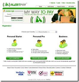 регистрация в платежной системе AlertPay