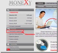 пополнение счета в MoneXy